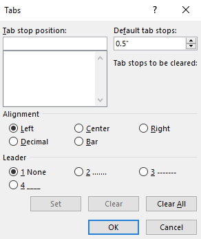 A tab dialog box with features on how to adjust tabs.