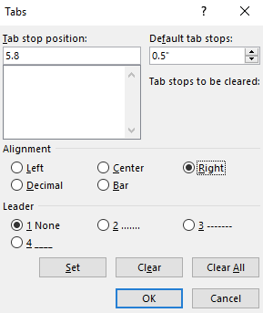 """A tab dialog box is open with several options selected. The """"Tab Stop Position"""" is 5.8 the """"Default Tab Stops"""" is at 0.5"""". The alignment is to the right and the leader is 1."""