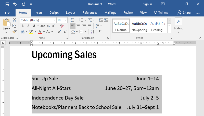 A Microsoft Word document is open with text on it. The text has been highlighted in gray to show what updating the tab does.