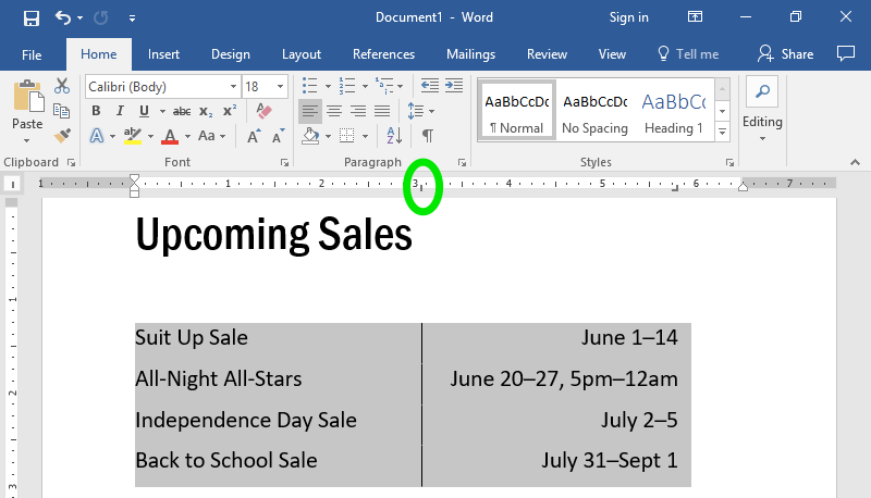 A Microsoft Word document is open with text on it. The text has been highlighted in gray to show what updating the center tab does. The center tab has also been highlighted by a green oval along the ribbon menu.