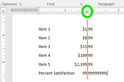 A document has been opened with 6 lines of text on it. The center tab feature has been surrounded by a green oval and directly down from that oval is an orange line that goes through the text to the bottom of the page, showing what the center tab feature does.