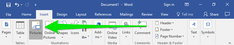 "A Microsoft Word document has been opened and it is zoomed in on the ribbon menu. There is a large green arrow pointing to the pictures option underneath the ""Insert"" tab."