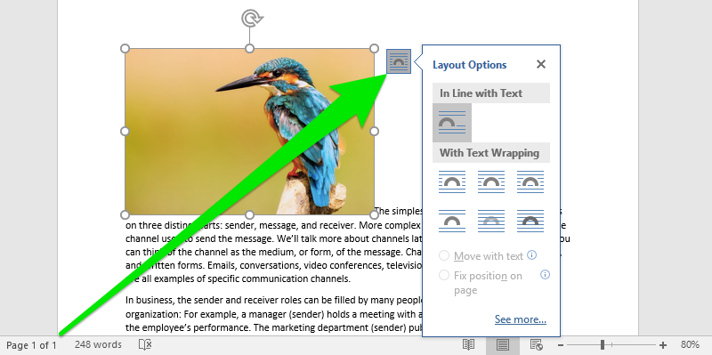 A Microsoft Word document is open with text on it. On the document an image of a colorful kingfisher is visible. In the top right corner of the image is a button which opens up a dropdown menu for layout options. A large green arrow is pointing at the button on the top right of the image.