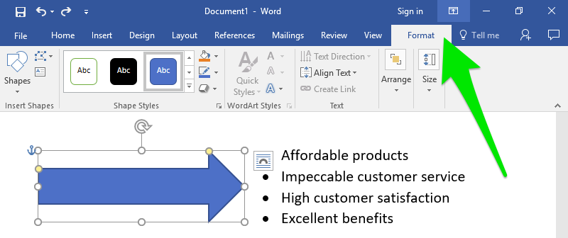 "A Microsoft Word document is open. On the document there are four lines of text each with a bullet point. To the left of the text is a blue arrow. There is a large green arrow pointing at the ""Format"" tab on the ribbon menu."