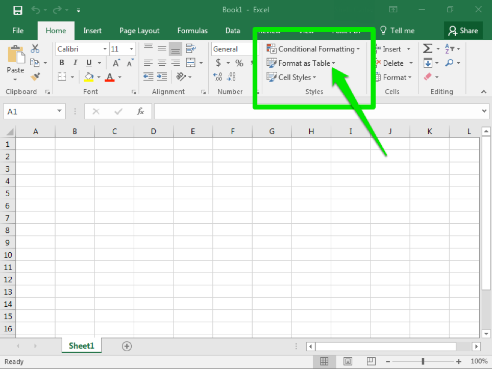 A blank Microsoft Excel sheet is open. There is a large green arrow pointing toward where the different style options are.