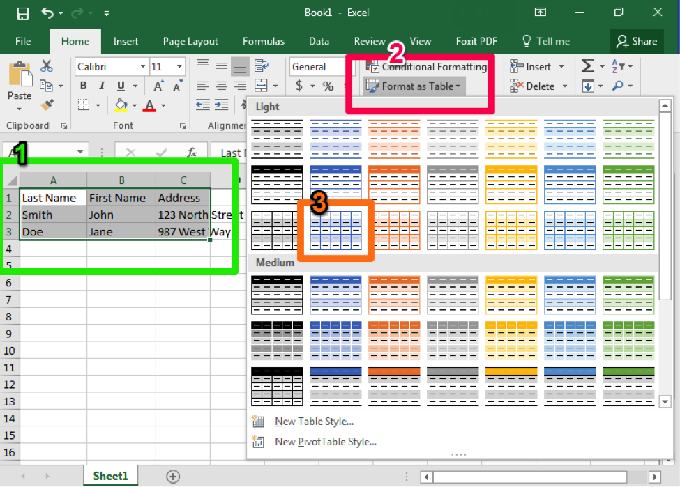 A Microsoft Excel sheet is open with text in cells A1 through C3. There are three boxes each a different color matched with a number. The first box is green and shows how you can select all the cells that belong in your table that you are creating. The second is a pink box demonstrating where the format as a table button is. The third is from a dropdown menu from the format as a table button and shows which table style to apply.