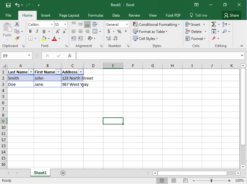 A Microsoft Excel sheet is open with text in cells A1 through C3. Row 1 from A through C has become the header for a table.