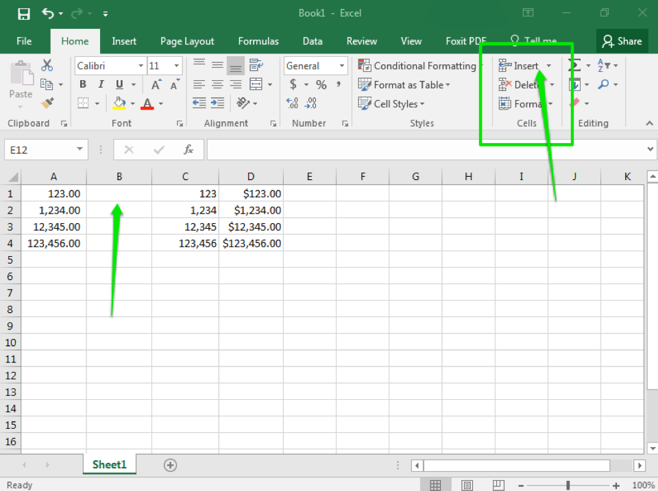 An Excel sheet is open with numbers in column A, C, and D through row 4. In column B there is a green arrow showing where a new cell column has been inserted. In the top right there is another green arrow pointing this time at a green box, specifically at the insert dropdown menu.