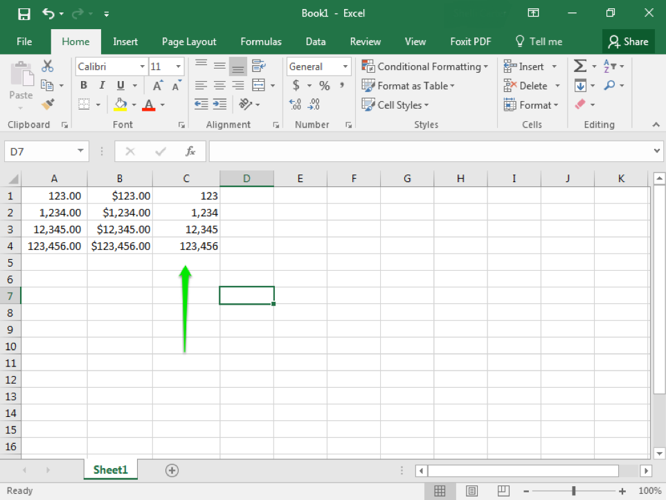 An excel sheet is open with numbers in columns A1 through C4. A green arrow is pointing at cell C5.