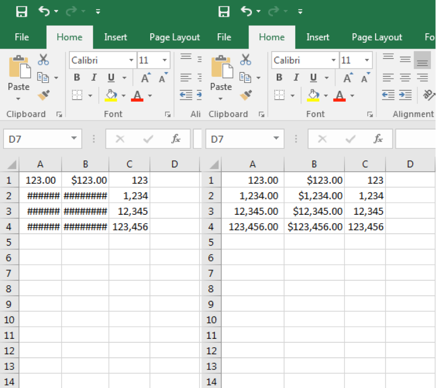 There are two excel sheets open each have numbers in columns A1 through C4.
