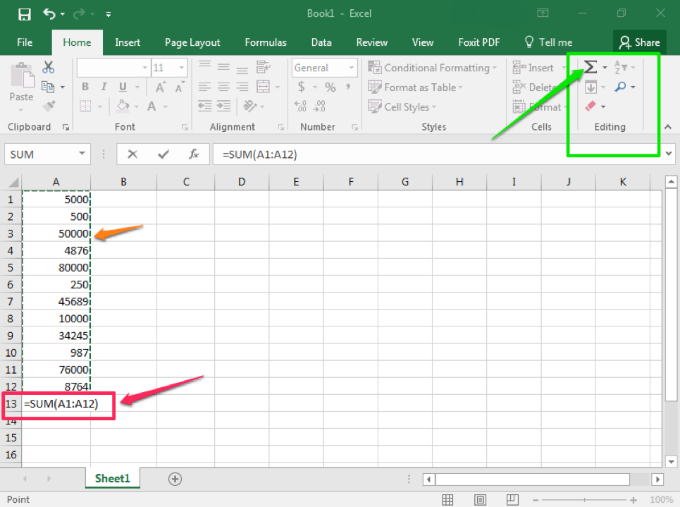 An excel sheet is open with numbers in column A through row 13. There is an orange arrow pointing to the numbers in row A meaning they have all been selected. There is a green arrow pointing at the sum feature which is being surrounded by a green box. There is a pink arrow pointing at a pink box which shows the result of the sum.