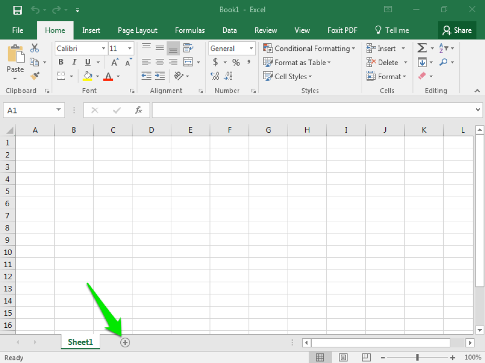 A blank excel sheet is open. A green arrow is pointing at the option to add a new sheet.