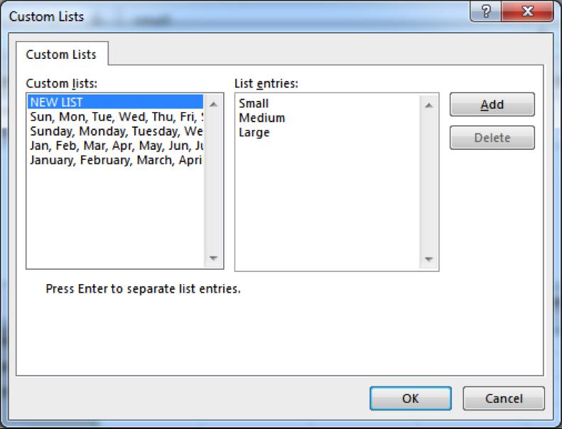 A custom lists dialog box is open.