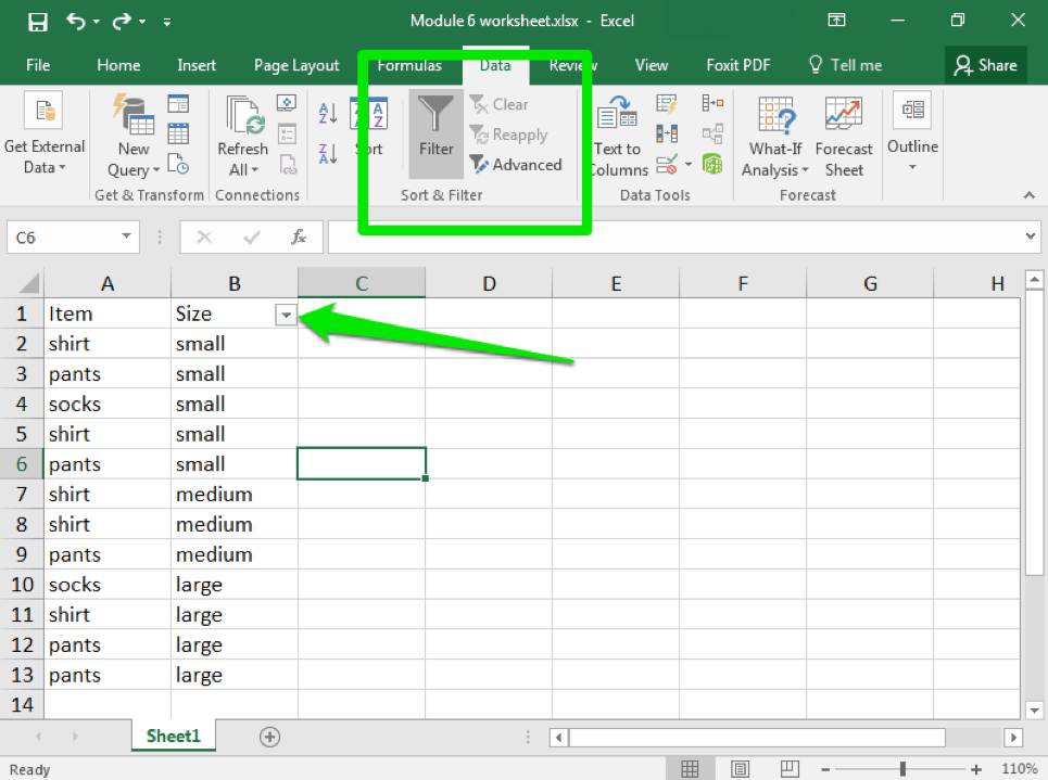 Data has been entered in Columns A and B through row 13 on an excel sheet. There is a green arrow pointing to the size dropdown menu and there is a green box around the sort and filter menu.