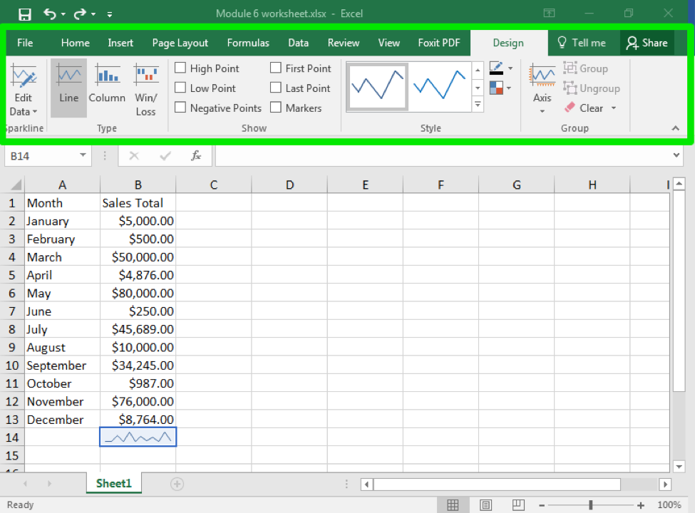 An excel sheet with data entered in columns A and B through row 13. There is a green arrow pointing to cell B14 where a line sparkline has been entered. The entire design tab in the ribbon menu has been covered by a green box,highlighting the different design options.