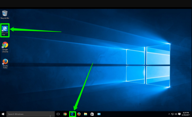 The desktop of a Windows 10 is displayed. There are two green arrows pointing at the two places where the edge browser icon can be found.