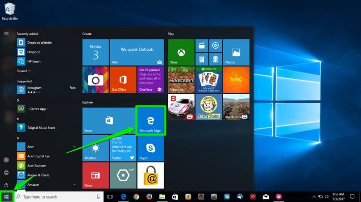 The desktop of a Windows 10 is displayed. There are two green arrows pointing at the windows button on the desktop. The second arrow is pointing at the browser icon in the newly opened menu.