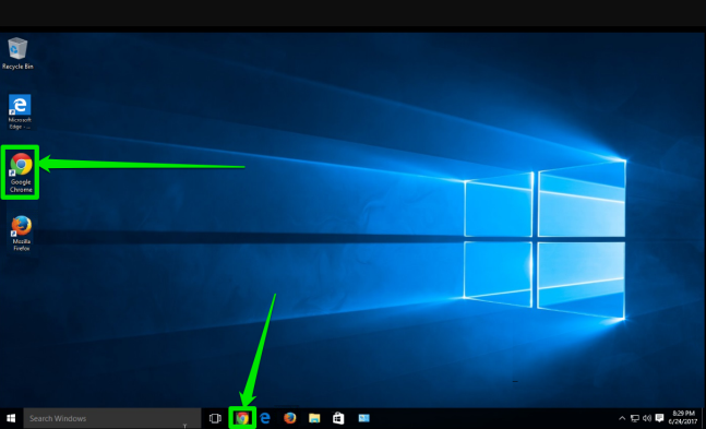 The desktop of a Windows 10 is displayed. There are two green arrows pointing at the two places where the Google Chrome icon can be found.