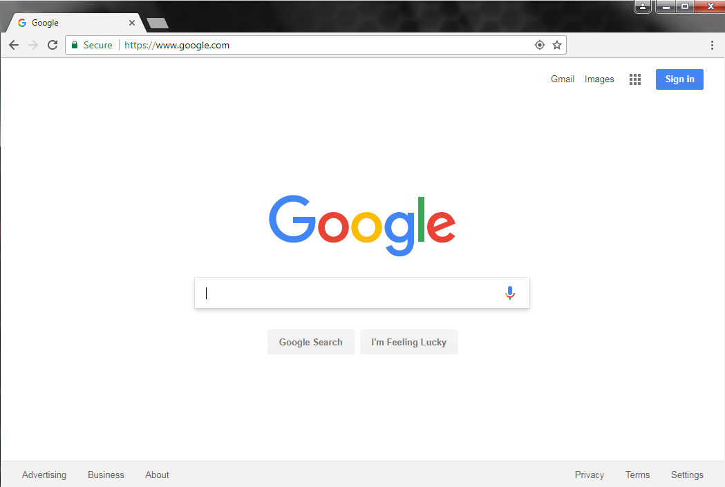 The Google Chrome homepage.
