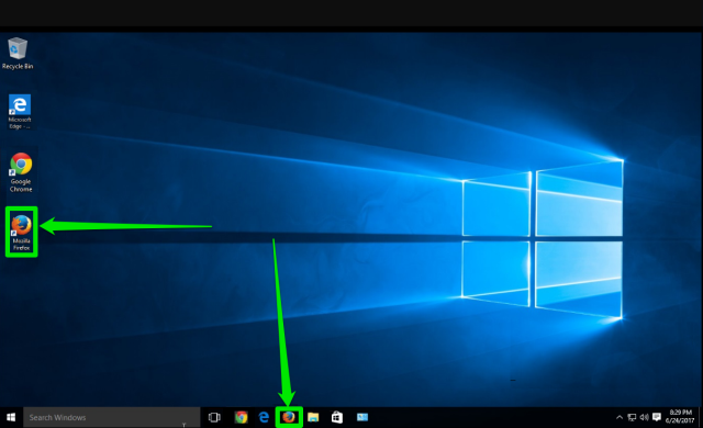 The desktop of a Windows 10 is displayed. There are two green arrows pointing at the two places where the Mozilla Firefox icon can be found.
