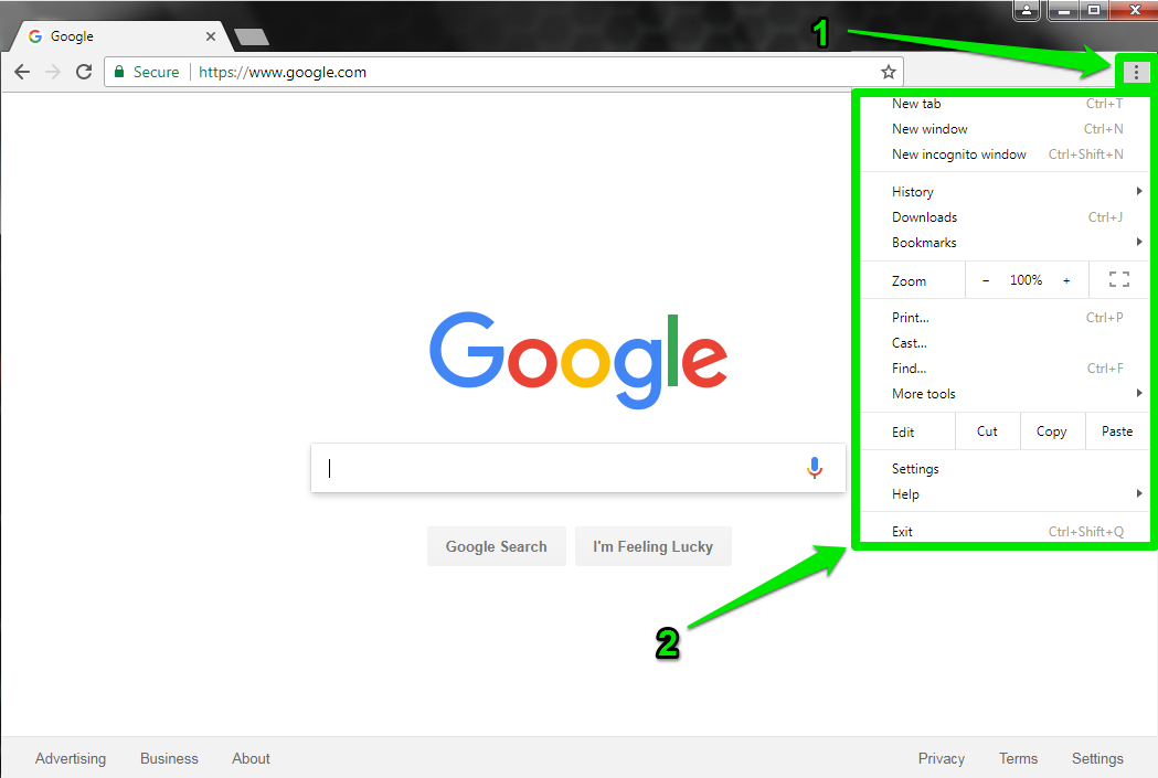 A browser with a green arrow pointing at a green box which shows how to open the dropdown menu.