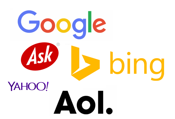There are five web browser application logos displayed. On the top is the Google logo, in the middle row are Ask and Bing. On the bottom row the logos of Yahoo and Aol are displayed.