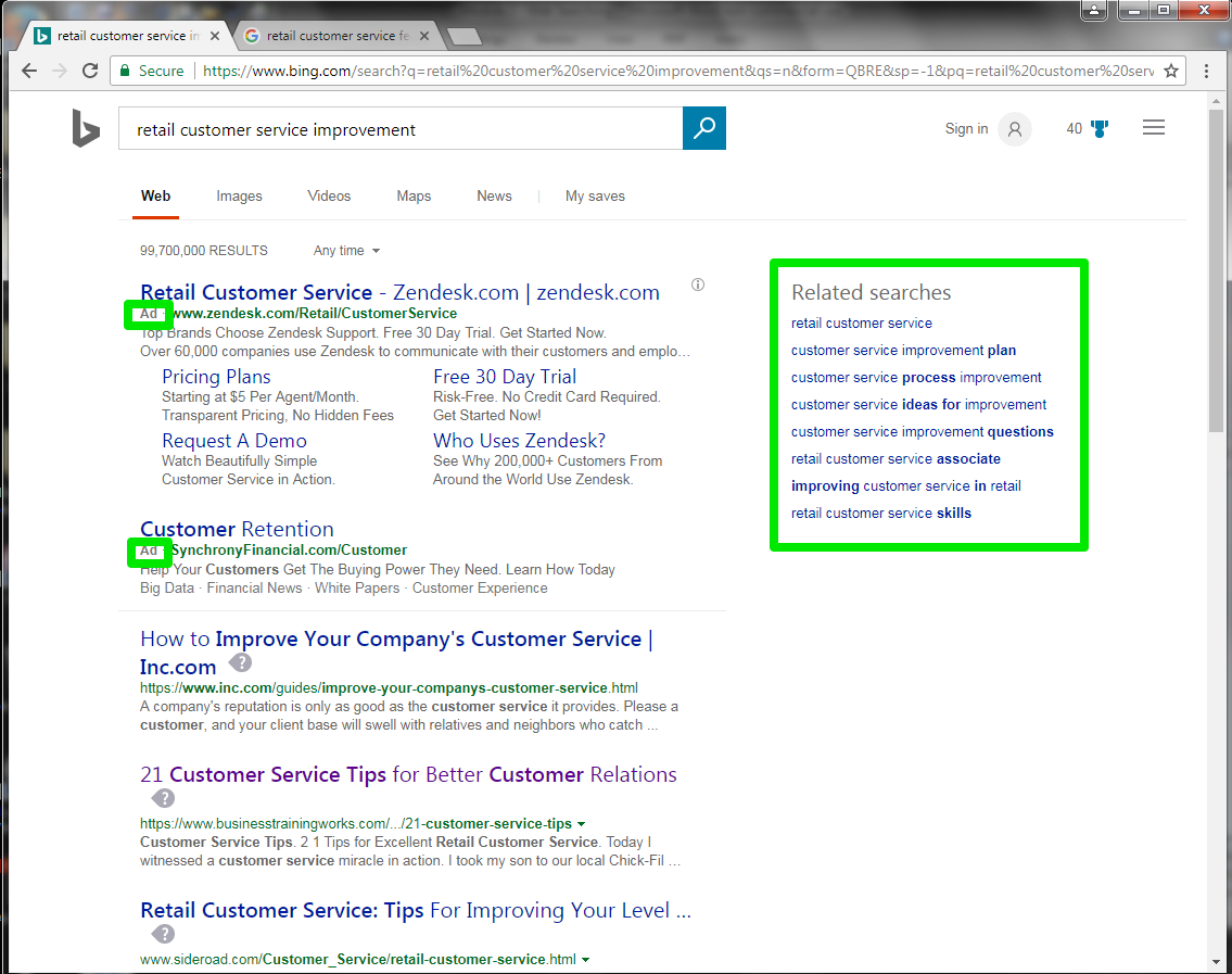 "The Bing search engine is open, with a search for, ""retail costumer service improvement"" entered in the search box. A green box surrounds two of the search results showing that they are ads. On the right side of the page is another green box showing options to see other related searches."
