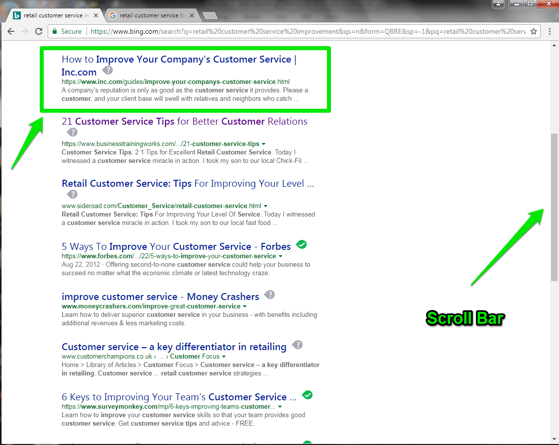 The Bing search engine has been run displaying several options for the search that had been entered. The top search result is highlighted in a green box. On the right side of the page is an arrow pointing at the scroll bar demonstrating how to view all of the search results.