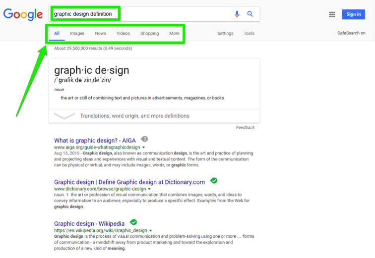 "A Google search has been performed for, ""graphic design definition"". There is a green box showing where the search box is and another below it highlighting where you want to search specifically. The options include search all, images, news, videos, shopping and more."