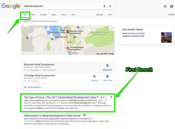 "The Google search engine is open, with a search for, ""retail development"" entered in the search box. A green box shows that the search has been run for all search results. There is another green box showing what the first results is."