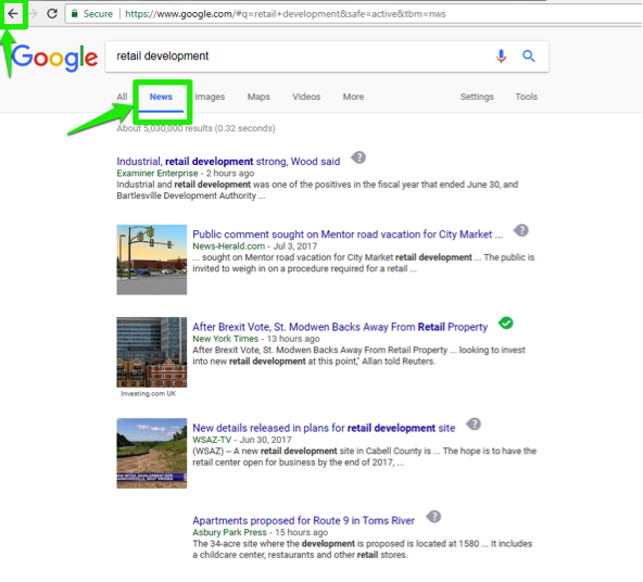 "The Google search engine is open, with a search for, ""retail development"" entered in the search box. A green box shows where the back button is in the top left corner. There is another green box showing that this search has been run specifically for news."