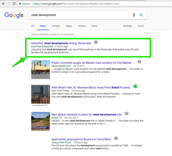 "The Google search engine is open, with a search for, ""retail development"" entered in the search box. A green box shows what the first result is from running this search in the news section."