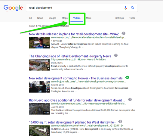 "The Google search engine is open, with a search for, ""retail development"" entered in the search box. There is a green box showing that this search has been run specifically for videos."