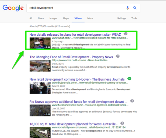 "The Google search engine is open, with a search for, ""retail development"" entered in the search box. There is a green box showing the top search result."