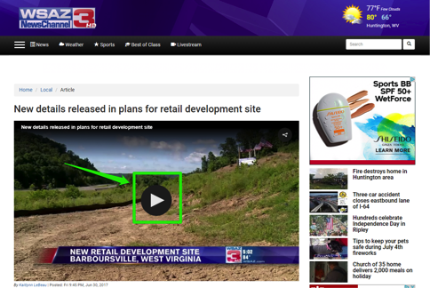 A Huntington, West Virginia news channel website containing a video about plans for a retail development site.