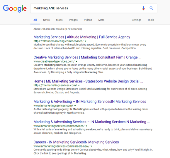 A google search has been entered for, Marketing AND services.