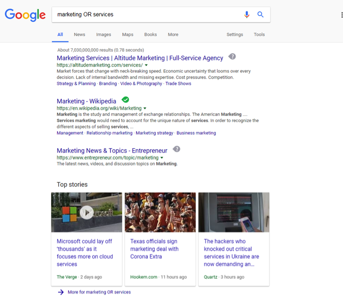 A google search has been entered for, Marketing OR services.