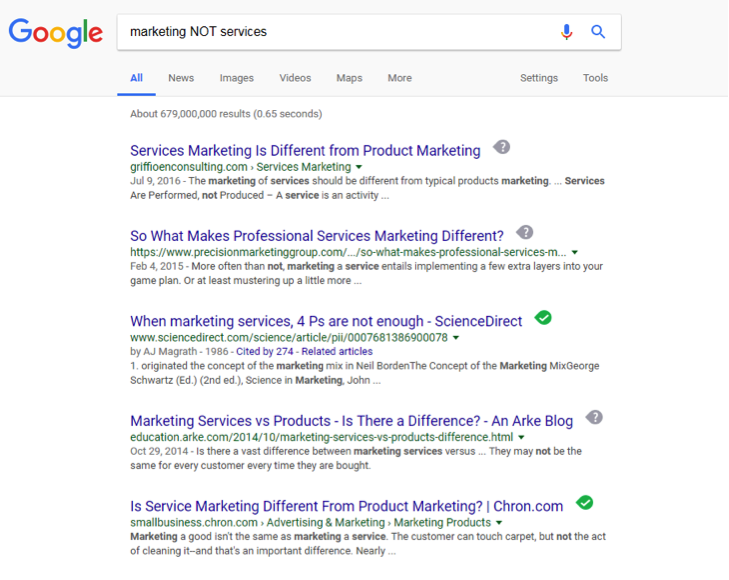 A google search has been entered for, Marketing NOT services.