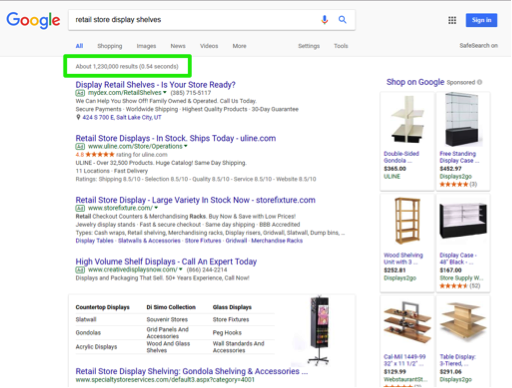 "A google search has been entered for, ""retail store display shelves"". There is a green box highlighting the number of search results that were found as a result of the search entered."