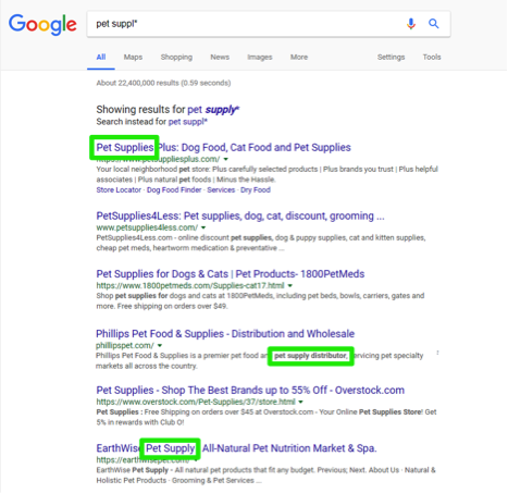 A google search has been entered for, pet suppl*. There are three green boxes highlighting smart search results.