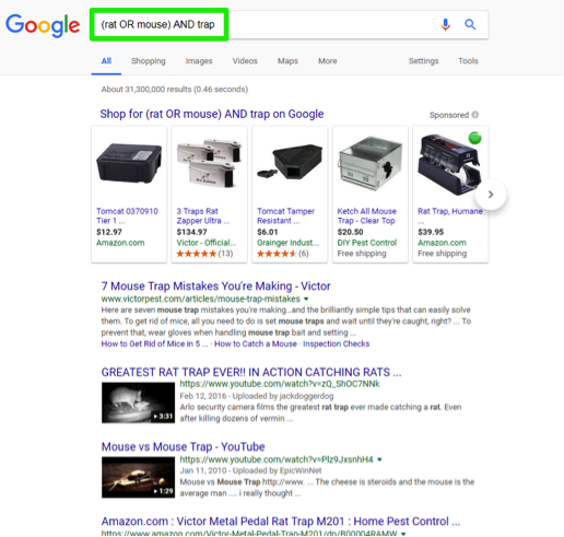 A google search has been entered for, (rat Or mouse) AND trap. There is a green box surrounding the search bar.