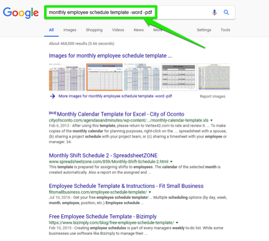 A google search has been entered for, monthly employee schedule template -word-pdf. There is a green arrow pointing at a green box which is surrounding the search bar.