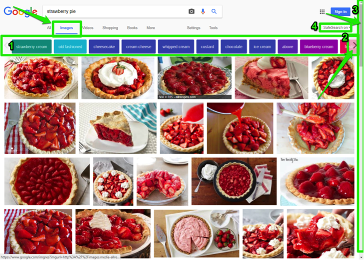 "A Google search for ""strawberry pie"" has been entered in the images section. There are four green boxes highlighting different sections of the page. The first one is indicating where the image category button has been entered. The second one is highlighting where the additional category button arrow is. The third is highlighting where the scroll bar is and the fourth shows where the safe search feature is."