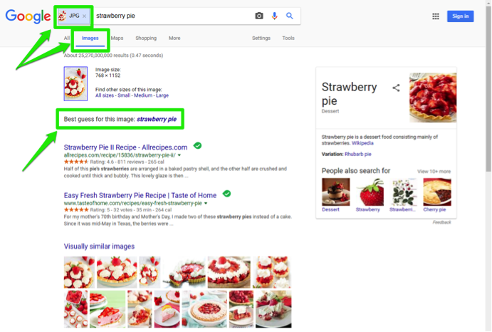 "A Google search for ""strawberry pie"" has been entered in the images section. A green box in the address bar is highlighting that a jpg search has been entered for an image. Another green box highlights where the Google feature to use the best guess for this image is shown."