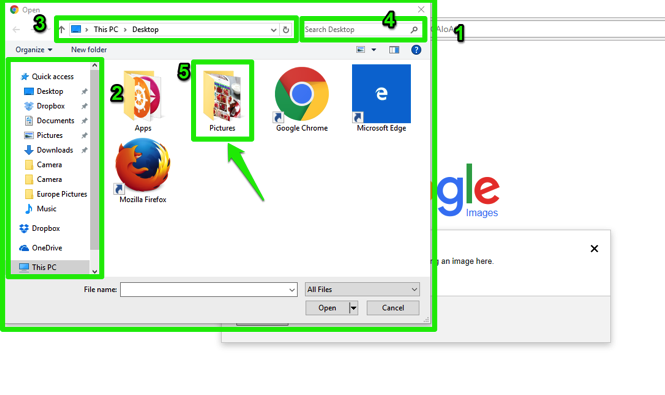 The file finder has been opened and is displayed in front of the google home page screen. There are 5 green numbers highlighting where different things are. The first shows the current files, drives and network drives for a computer. The second shows the left scrolling menu lists the areas on a computer to look for files. The third displays the current location being shown by the window. The fourth shows where the search box is which searches for files, images, and text in the currently displayed window. Finally the fifth shows the file folder with image to be uploaded.