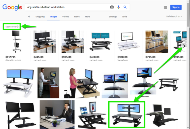 A Google search for adjustable sit stand workstation has been entered. There are three green boxes highlighting different important option available. The first green box indicates the option to view what images have been sponsored. The second green box is showing how to go the next page of images. The third green box surrounds an image from the search entered.