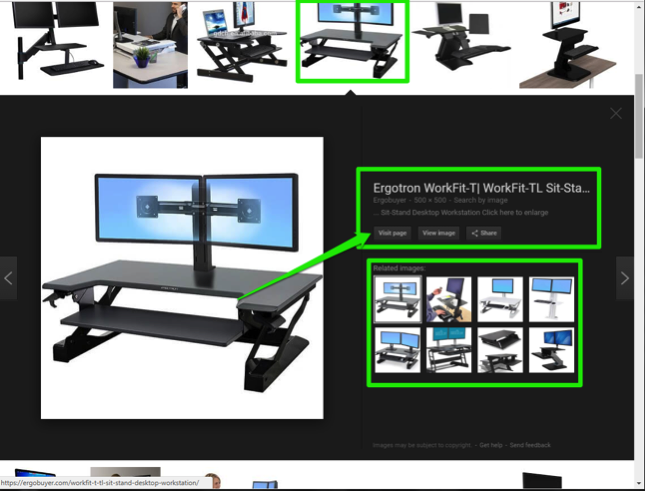 An image of a desktop from a Google search is displayed. There are two green boxes highlighting the options to view the source of the image and another showing where the related images can be found.