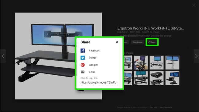 An image of a desktop from a Google search is displayed. There is a green box highlighting where the option to share the image selected is. A new dropdown menu has appeared which has been highlighted by a green box. This box shows the different places you can share the image.