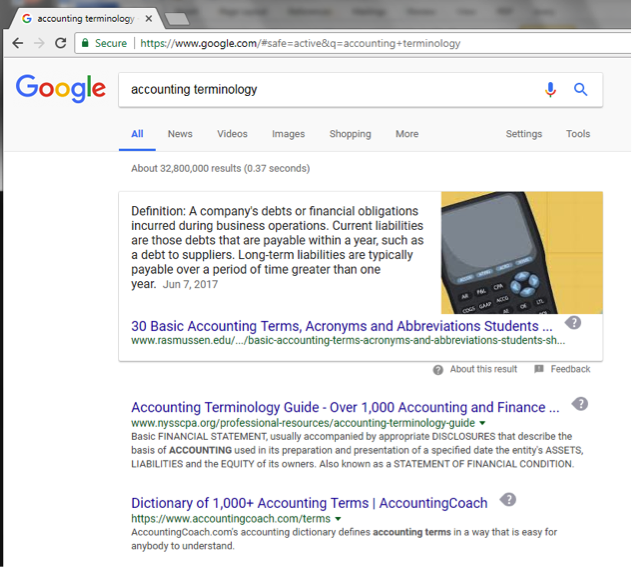 A Google search has been entered for accounting terminology.