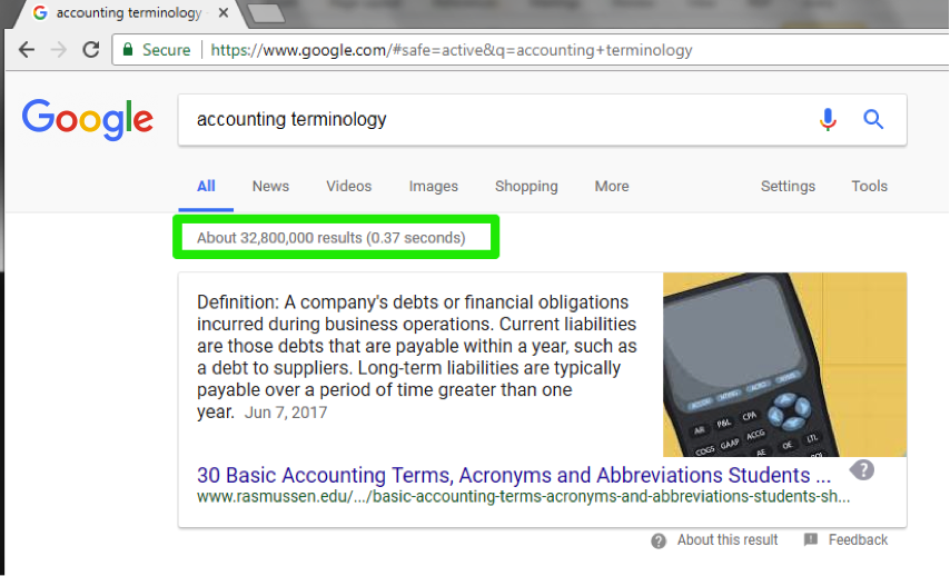 A Google search has been entered for accounting terminology. A green box is highlighting that about 32,800,000 results were found in 0.37 seconds.